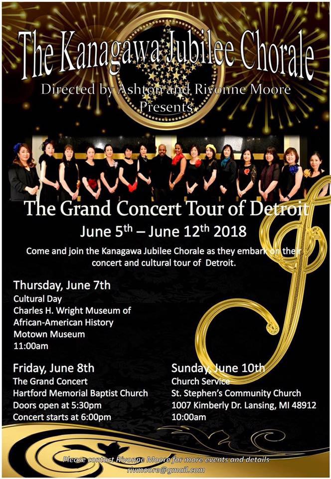 Ashton Moore Kanagawa Jubilee Chorale tours Detroit, 6/5-12
